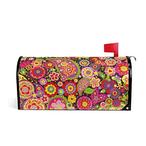 AUUXVA JOYPRINT Magnetic Mailbox Cover Spring Floral Paisley Tribal, Oversize 25.5