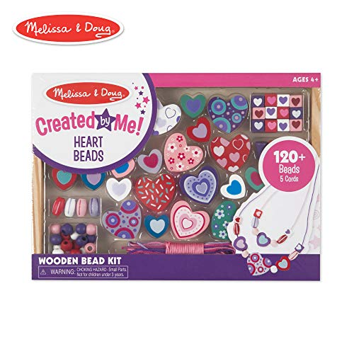 Heart Necklace Craft Kit - Melissa & Doug Created By Me! Heart Beads Wooden Bead Set (Jewelry-Making Kit, Over 120 Beads, 5 Cords)