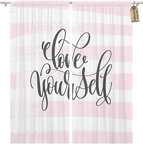 Emvency Thermal Blackout Curtains Drapes Set of 2 Panels 52 W x 96 L Love Yourself Hand Lettering Inscription Text Letters On Abstract Pink Brush Stroke Window Curtains for Living Room