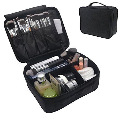 Kit Polish And Nail Lipstick Black (Portable Makeup Train Case, FLYMEI Waterproof Cosmetic Organizer Kit Make Up Artist Storage for Cosmetics, Makeup Brush Set, Jewelry, Toiletry And Travel Accessories)