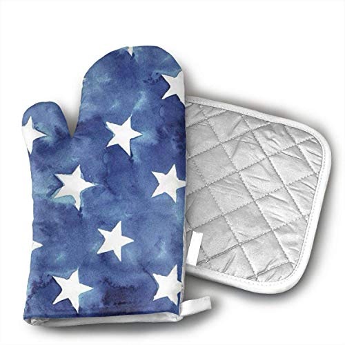 Blue White Star Oven Mitts and Pot Holders Set with Polyester Cotton Non-Slip Grip, Heat Resistant, Oven Gloves for BBQ Cooking Baking, Grilling