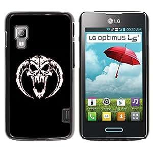 rígido protector delgado Shell Prima Delgada Casa Carcasa Funda Case Bandera Cover Armor para LG Optimus L5 II Dual E455 E460 /Horned Devil Skull/ STRONG