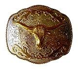 JK Trading Men's Western Bull Belt Buckle One Size Gold Silver offers
