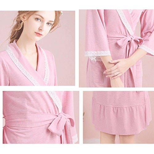autunno Accappatoi Primavera e Robe sottile Home Mezza Sleep Cute manica Clothes Rosa Lace Sezione Pigiama GAOLILI Lady q1CwndEq