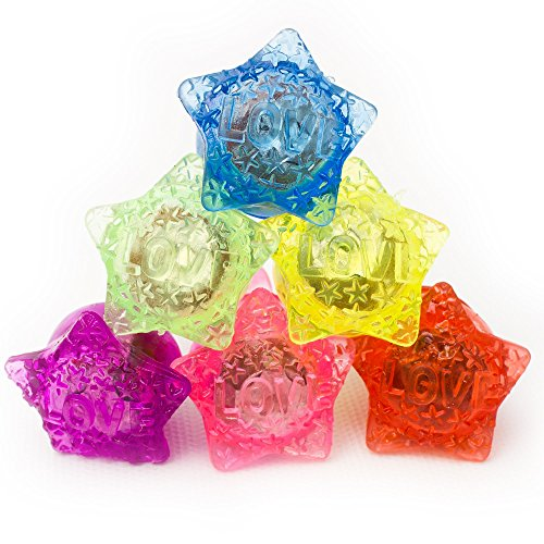 Fun Central I543 LED Flashing Jelly Star Rings - Assorted Colors - 24ct ()