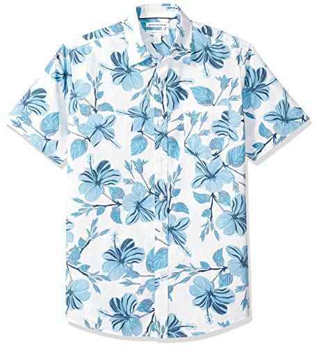 Amazon Essentials Men's Regular-Fit Short-Sleeve Print Shirt, Large Floral, Medium
