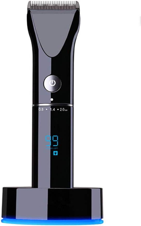 LQLQ Cortar el Pelo Recargable inalámbrica para Cortar el Pelo de la Barba Trimmer Máquina de Afeitar eléctrica del Corte de Pelo Kit Impermeable Pantalla LED para los Hombres y de Familia,Black