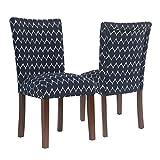 Cheap HomePop Textured Parsons Chair – Set of 2 Dark Blue Walnut Finish