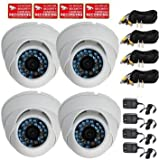 VideoSecu 4 Dome CCD Outdoor Day Night Vision IR Vandal Proof Home Security Cameras 480TVL 3.6mm Lens for CCTV Surveillance DVR System with Power Supplies, Cables and Security Warning Stickers M6J