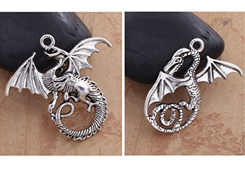 Dragon Charm Pendants, 20 pc (10 of Each) Antiqued Silver Tone for DIY Jewelry Making Necklace