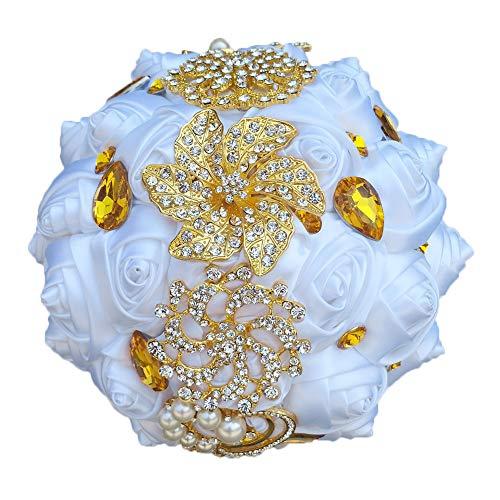 - YOYOYU Luxury Gorgeous Wedding Bridal Bouquets Elegant Pearl Bride Flower Wedding Bouquet Handmade Crystal Ribbon Weaths W227(White)