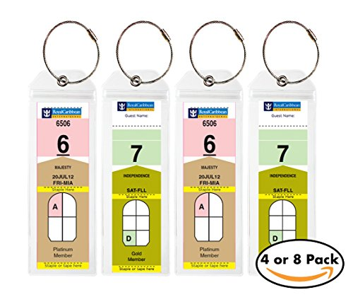 Cruise Tags - Narrow Cruise Ship Luggage Etag Holder with Zip Seal & Steel Loops for Royal Caribbean and Celebrity Cruises (4 pack) (Ships Caribbean Royal Cruise)