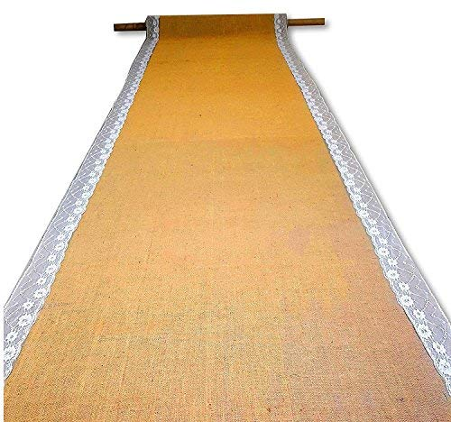 AAYU Premium Wedding Aisle Runner | Party Table Runner | Ivory Lace Ribbon Attached | Burlap Roll: 40 inch x 50 Feet | Baby Shower Decoration | Eco-Friendly Natural Jute Product