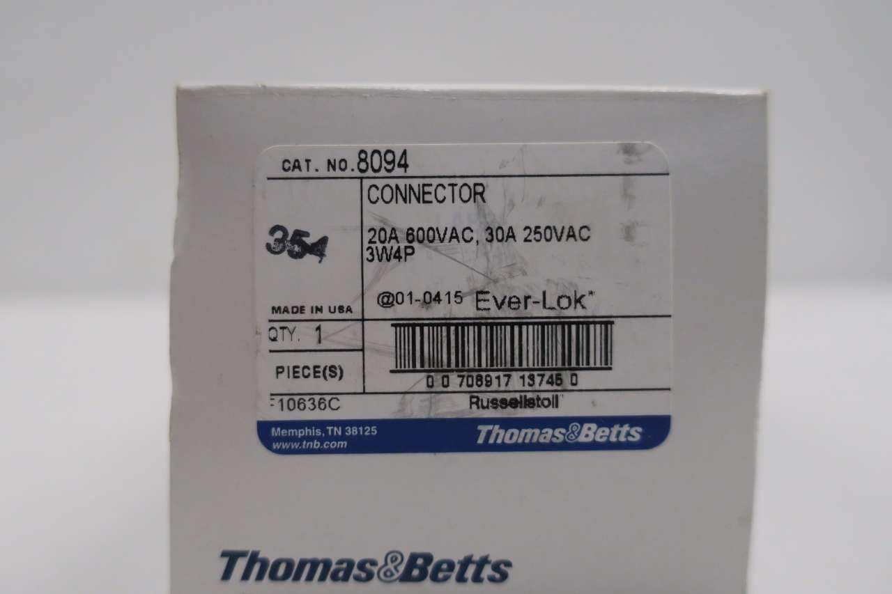 Thomas/&betts Russellstoll 8094 Ever-lok Connector 20-30a Amp 3w 4p
