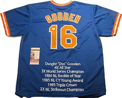 check out a1df2 ca3cf Dwight Gooden Autographed Signed New York Mets Blue Jersey ...