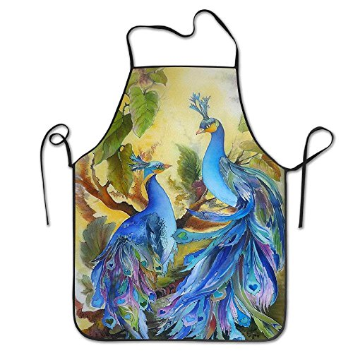 Housekeeping Smock (Mouthdodo Retro Peacock Adjustable Apron for Grilling Bacon Women's Men's Great Gift for Wife Ladies Men Boyfriend)