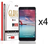 ZTE Max Duo LTE Z963VL / Z962BL - 4 Pack - Premium [Transparent HD Ultra Crystal Clear] Tempered Glass [0.33mm 9H Hardness] Screen Protectors and Atom LED
