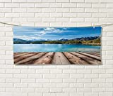 Anniutwo Mountain,Hand Towel,Snowy Mountain Tops from Old Wood Deck Pier Sea Idyllic Calm Coastal Charm,Quick-Dry Towels,Blue Brown Size: W 20'' x L 20''