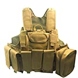 A-Parts Army Fans Tactical Vest Cs Field Outdoor Equipment Heavy Duty Holster Training Molle (Tan)