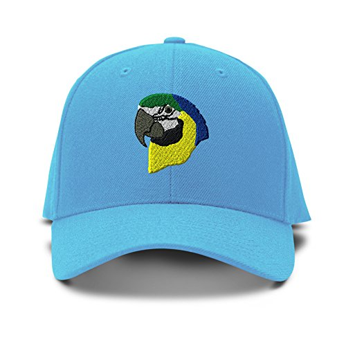 [Parrot Head Embroidery Embroidered Adjustable Hat Baseball Cap Light Blue] (Parrot Head Hat)