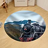 Gzhihine Custom round floor mat Vintage Black Steam Powered Railway Train