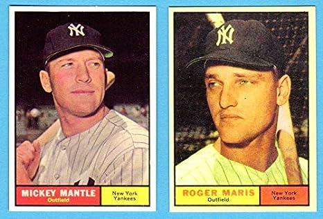 Amazoncom Mickey Mantle Roger Maris 1961 Topps Baseball Reprint