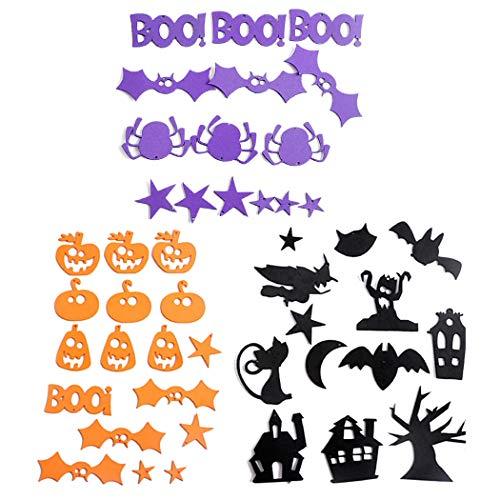 Fansport 3 Sheets Halloween Sticker Creative DIY Lovely Foam Sticker Foam Embellishment
