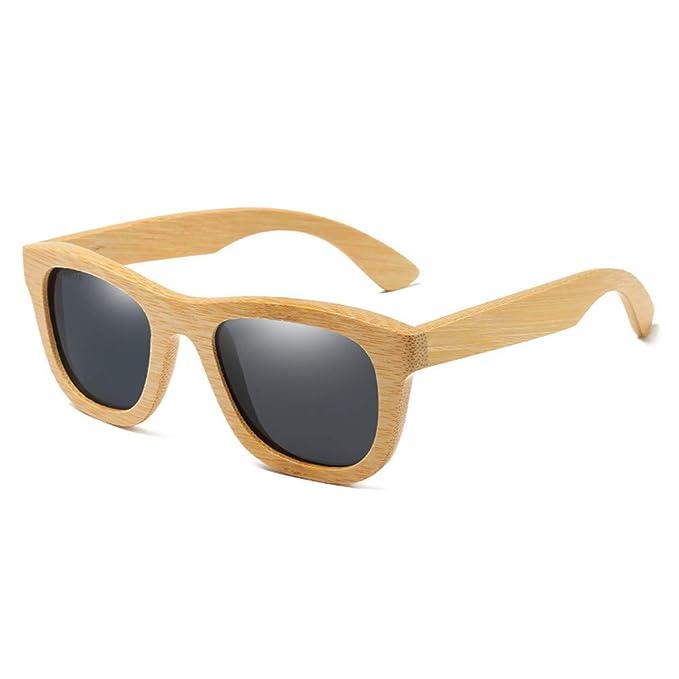 LITESIS Gafas de sol polarizadas de madera de bambú Marca Sun Vidrios de la vendimia de