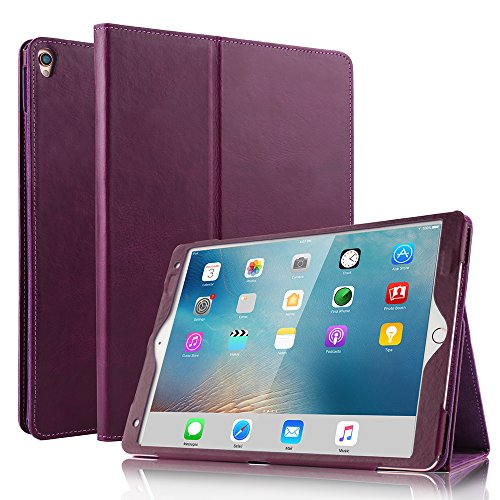 iPad Air 2019(3rd Gen)10.5/iPad Pro 10.52017 Case- BoriYuan Vintage Genuine Leather Case Slim Folio Stand Cover for iPad 10.5 inch with Multiple Viewing Angles,Auto Sleep/Wake and Card Slot -Purple