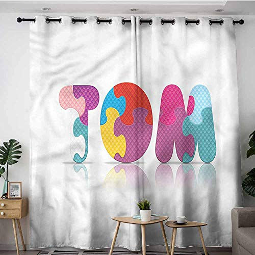 - XXANS Extra Wide Patio Door Curtain,Tom,Colorful Popular Boy Name,for Bedroom Grommet Drapes,W84x108L