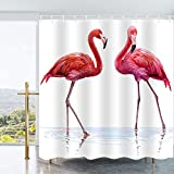 ufengke Shower Curtain Pink Flamingo with 12 Hooks White Fabric Curtain Polyester Waterproof for Bathroom,72' X 72'