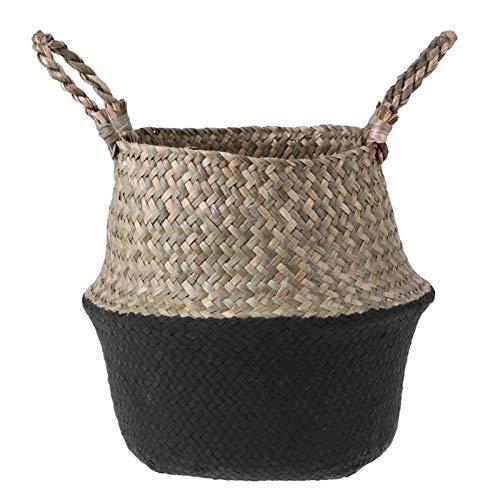 Monster* Rattan Basket Flower Basket Knitting Basket Woven Belly Storage Basket Seagrass Flowerpot Craft Hanging Decorative Foldable Storage Basket (S, Black) (Rattan Kooboo)