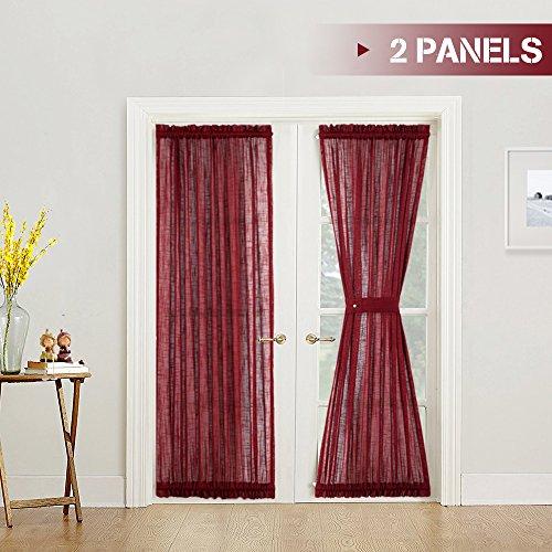 Linen French Design (French Door Curtains Solid Sheer French Door Panel Curtains 2 Panels with Bonus Tiebacks Linen Textured Door Window Curtain Set Burgundy, 52