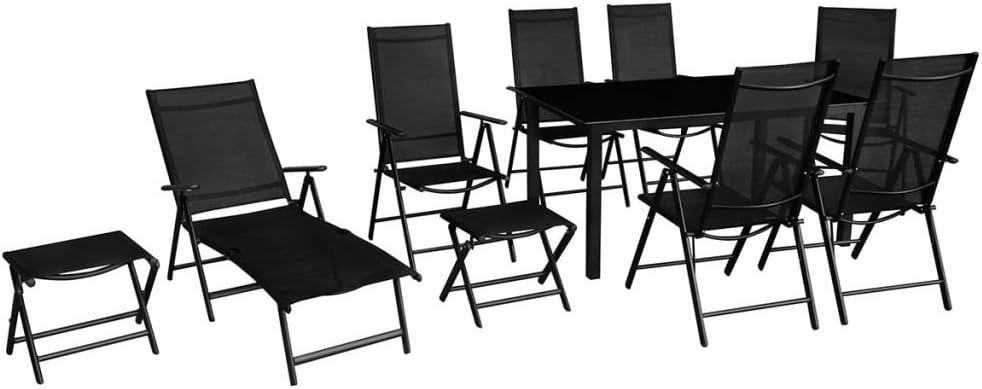 vidaXL Set Muebles de Jardín de Aluminio 10 Piezas Negro Mesa Sillas Tumbonas: Amazon.es: Hogar