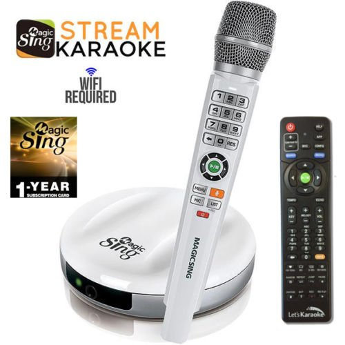 2018 Wireless MagicSing E2 · Home Karaoke · Stream 10,000+ English Songs · Subscribe to Stream 200,000+ Songs in Hindi, Tagalog, Spanish, & more · Free 12-Month Subscription - Karaoke System Songs