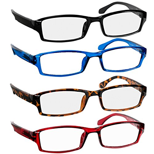 Reading Glasses 2.0 Black Tortoise Red Blue Readers for Men & Women - Spring Arms & Dura-Tight Screws Have a Stylish Look and Crystal Clear Vision When You Need It! ()