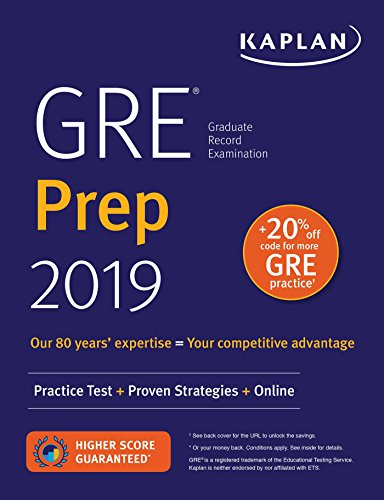 GRE Prep 2019: Practice Tests + Proven Strategies + Online (Kaplan Test Prep) cover