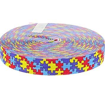 Midi Ribbon 5/8 Inch 10 Yards/Pack Autism Awareness Print FOE Elastic  Ribbons-Design 10