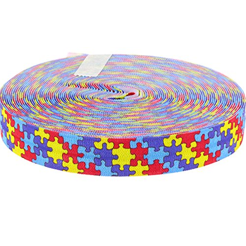 Midi Ribbon 5/8 Inch 10 Yards/Pack Autism Awareness Print FOE Elastic Ribbons-Design 10