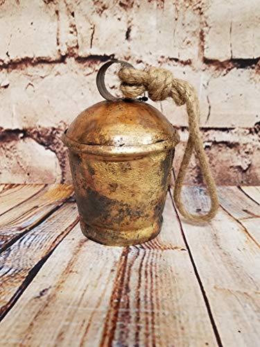 (ATI Rustic Burnt Brass Decorative Bull Bell with Jute Hanger (Small, 5)