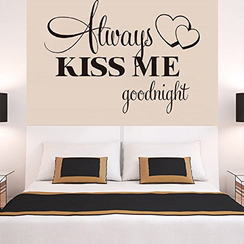Flank Always Kiss Me Goodnight Wall Sticker Quote Decal Removable Sticker (Cherry Colored Wallpaper)