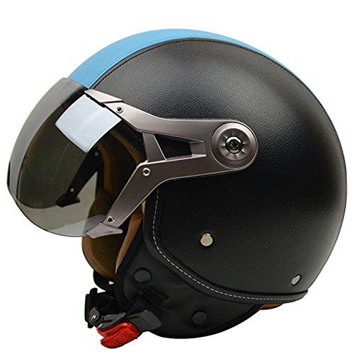 Motorcycle Helmets Retro Synthetic half helmet Vintage Moto Unisex Motocross Helmets With Goggles Adjustable Size L/XL (Blue, ()