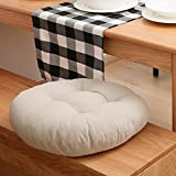 MEMORECOOL LIGHT UP YOUR HOME Pure Color Cotton Linen Round Floor Pillow Cushion, Japanese Futon Seat Cushion Thicken Chair Wave Window Pad 18 Inch, Cream Set of 2