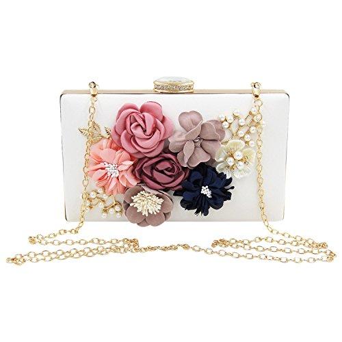TOOGOO Bolsa clutch de mujer Monedero de fiesta floral Bolsos de noche de boda, Blanco