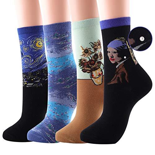 Elephants Fine Art - 4 Pairs Art Crew Socks for Womens Funny Fun Novelty Crazy Cool Funky Socks (Set 1)
