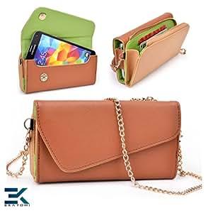 Alcatel OneTouch Fire E Case   PU Leather Wallet Purse Universal Phone Wristlet - BROWN & GREEN. Bonus Ekatomi Screen Cleaner*