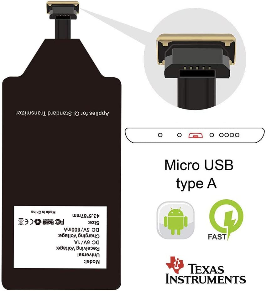 Wireless Charging Adapter Qi Charger Receiver Compatible LG G4 G3 G2 Stylo 2 3 V10 K7 Q6 Plus X Moto G6 Play G5 G5S E4 Samsung Galaxy S3 J7 Pro A7 A5 A3 Huawei Mate Micro USB Card Android Charge