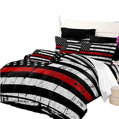 Oliven Quilt Cover Twin Size American Flag Duvet Cover White Black Red Stripe 2 Pcs Bedding Set Independence Day Decor
