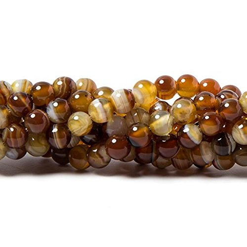 Caramel Agate - 6mm Caramel Brown Banded Agate plain round beads 15 inch 60 pieces