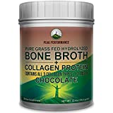 Chocolate Hydrolyzed Bone Broth + Collagen Protein Peptides Powder By Peak Performance. Contains ALL 3 Collagen Types 1, 2, 3. Pure Pasture Raised Grass Fed, Paleo Friendly, Gluten & Dairy Free